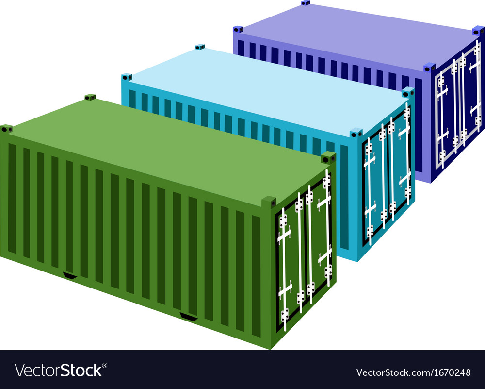 Three freight containers on a white background vector | Price: 1 Credit (USD $1)