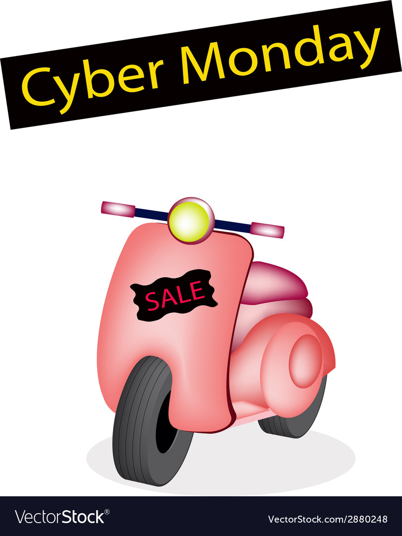 Vintage scooter with a cyber monday flag vector | Price: 1 Credit (USD $1)