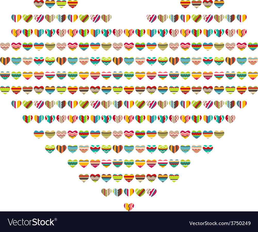 Big bright heart made of small ones vector | Price: 1 Credit (USD $1)