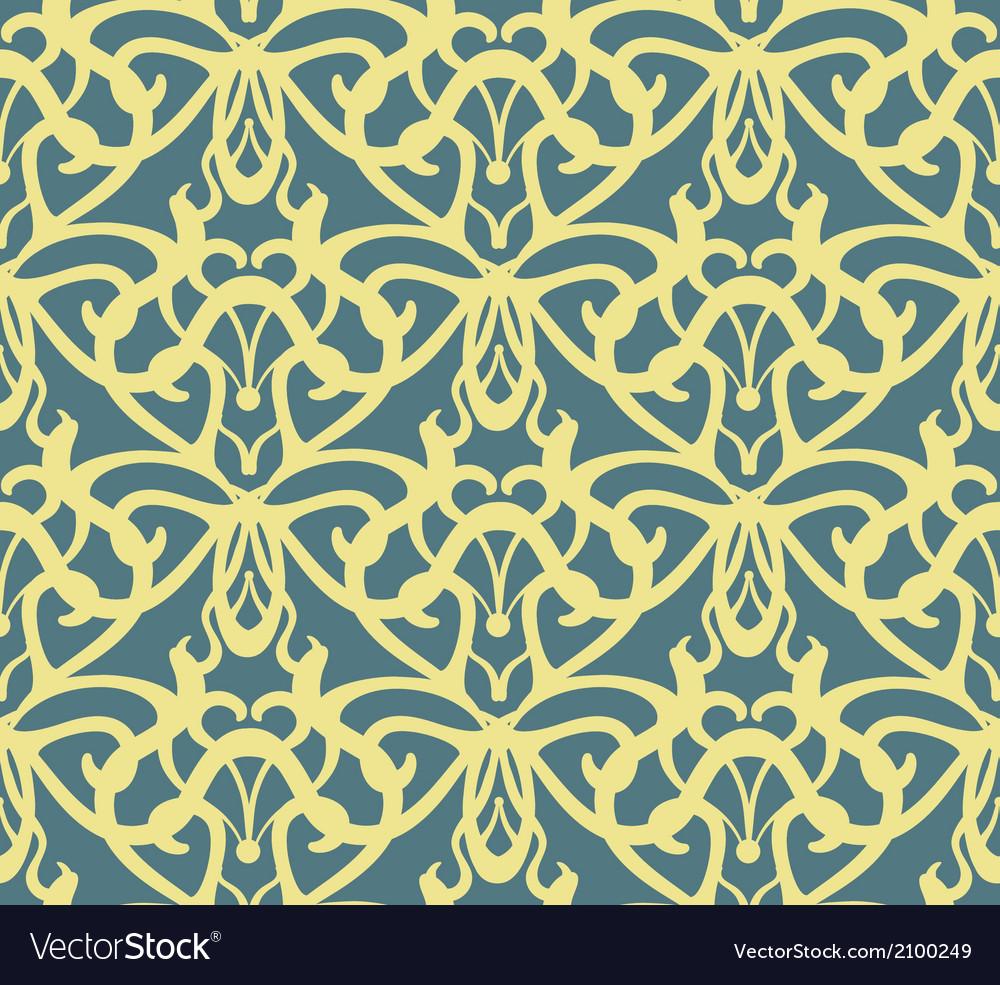 Elaborate golden vintage seamless pattern on blue vector | Price: 1 Credit (USD $1)