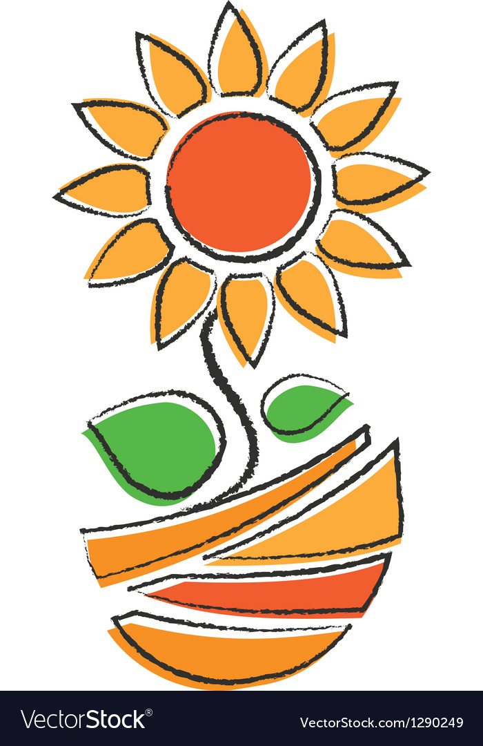 Orange sunflower vector | Price: 1 Credit (USD $1)
