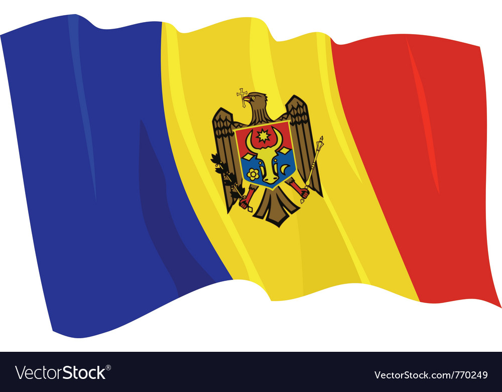 Political waving flag of moldova vector | Price: 1 Credit (USD $1)