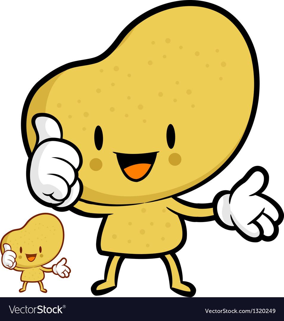 Potato mascot the left hand best gesture vector | Price: 1 Credit (USD $1)