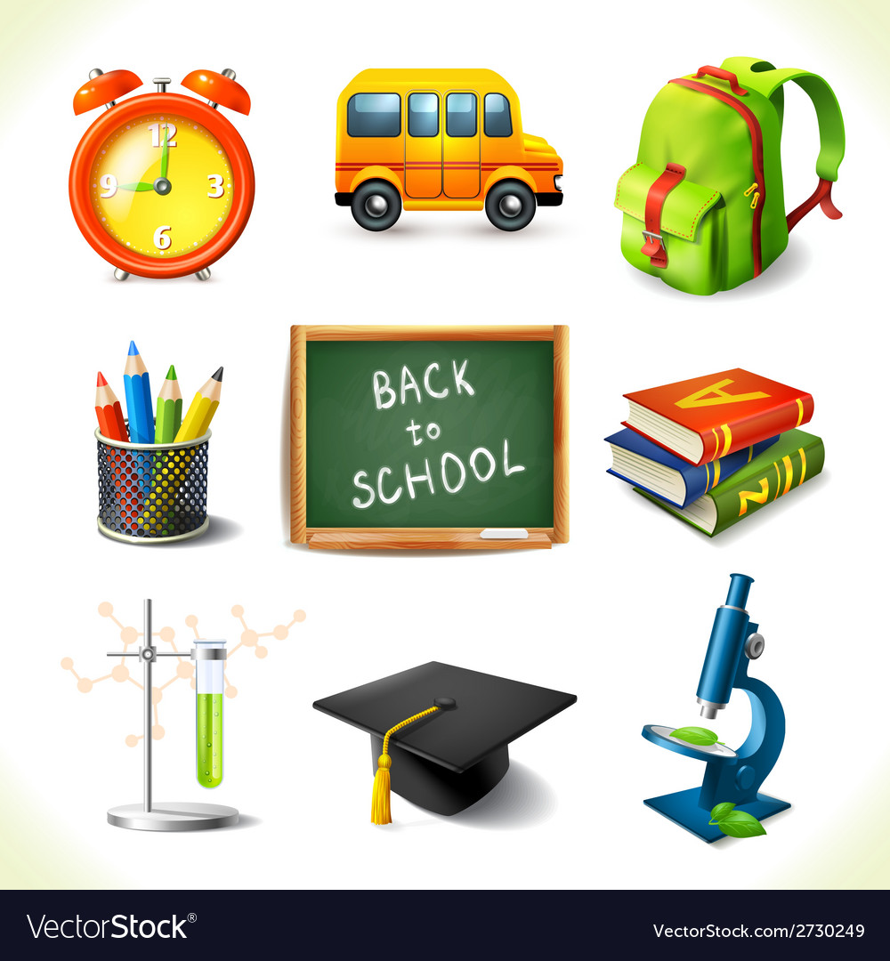 Realistic school education icons set vector | Price: 1 Credit (USD $1)