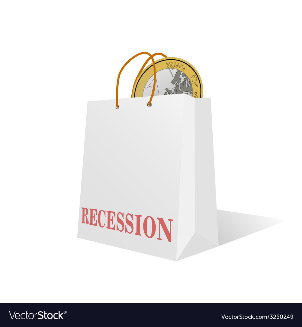 Recession with euro coin color vector   Price: 1 Credit (USD $1)