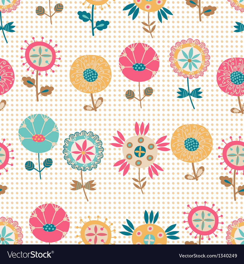 Seamless summer flower pattern vector | Price: 1 Credit (USD $1)