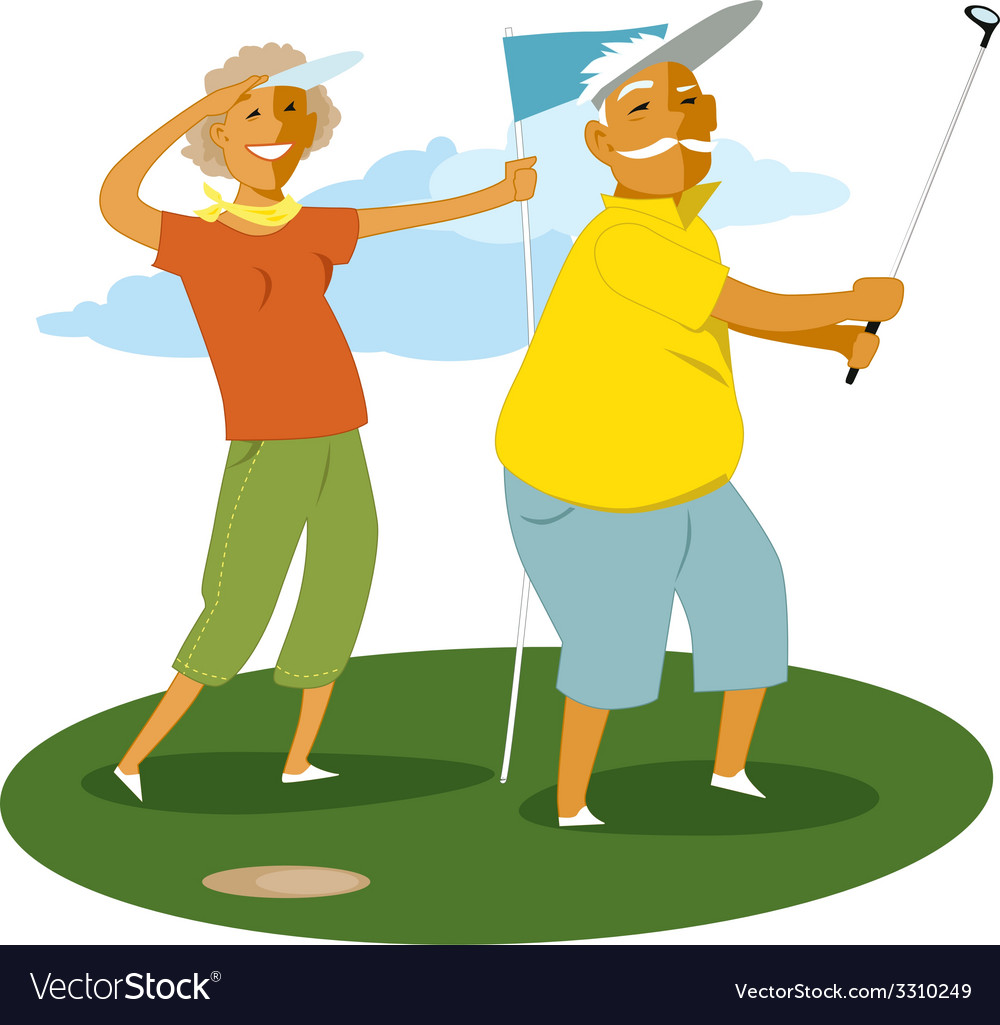 Senior couple playing golf vector | Price: 1 Credit (USD $1)
