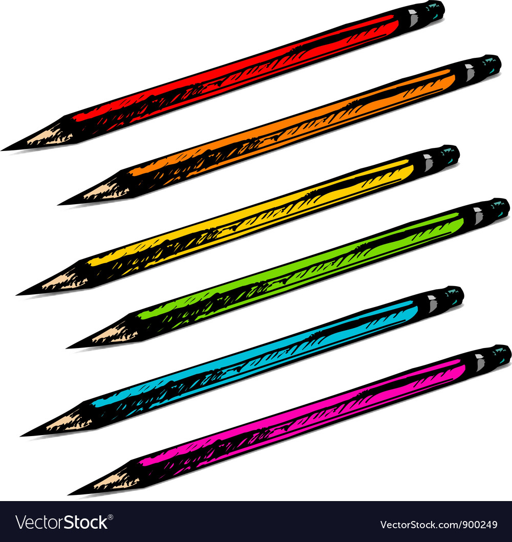 Set of colorful hand drawn pencils vector | Price: 1 Credit (USD $1)