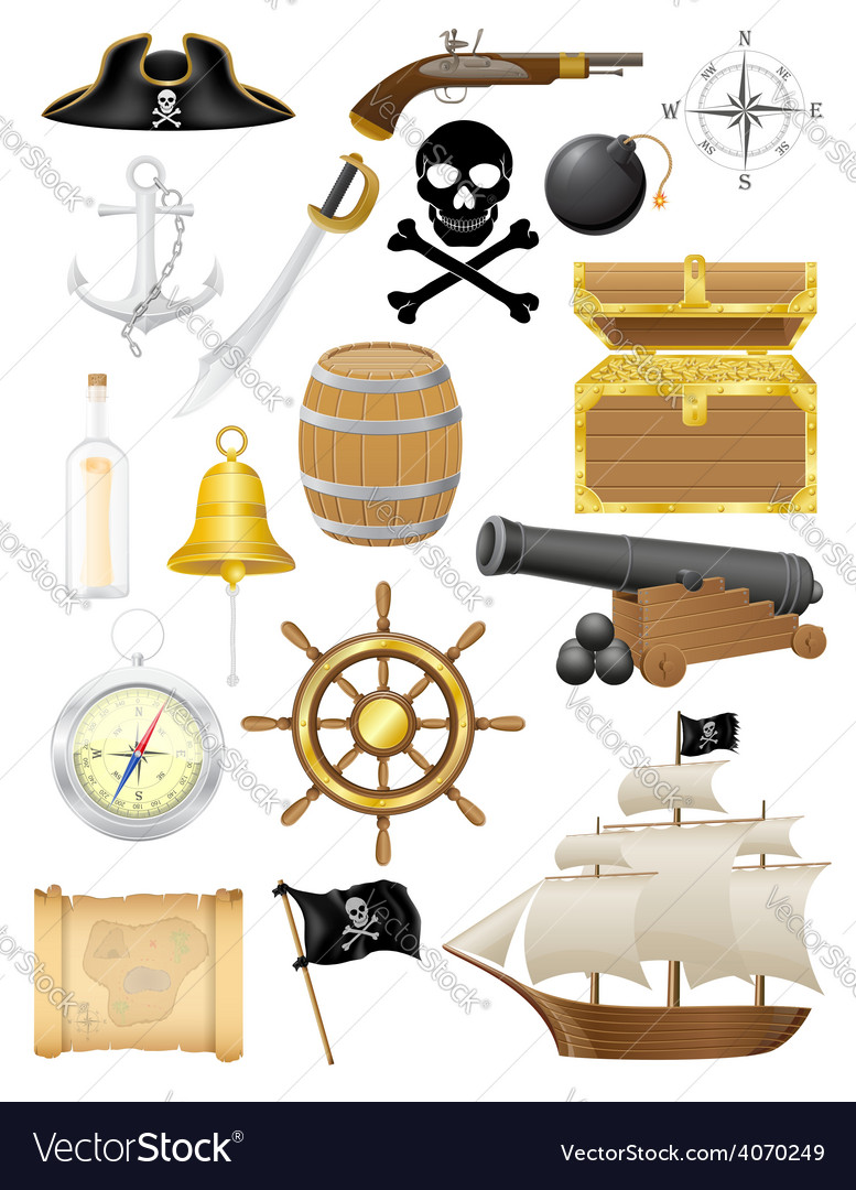 Set of pirate icons vector | Price: 3 Credit (USD $3)