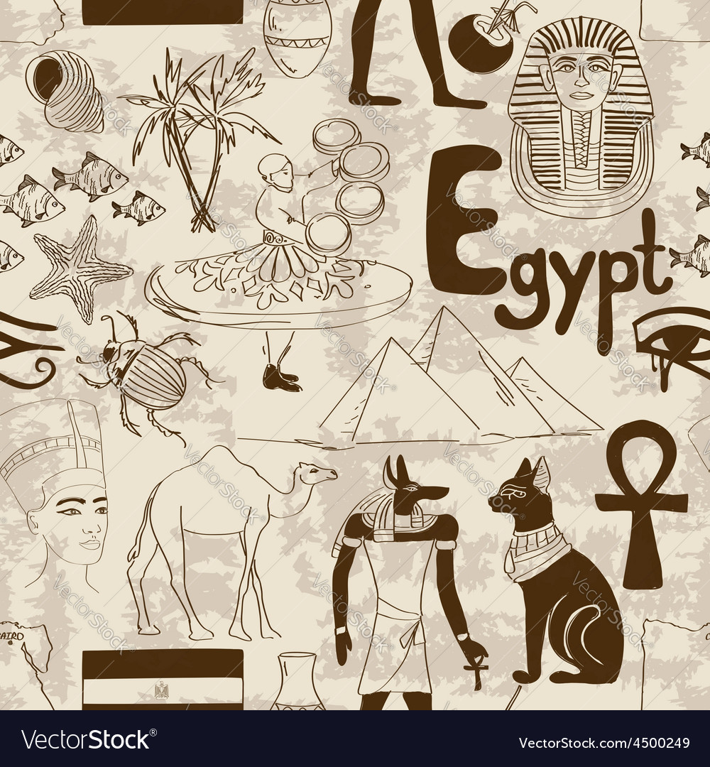 Sketch egypt seamless pattern vector | Price: 1 Credit (USD $1)