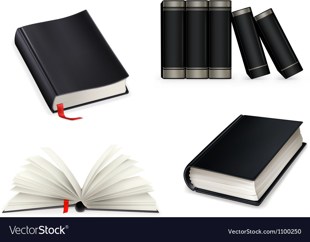 Book collection black vector | Price: 1 Credit (USD $1)