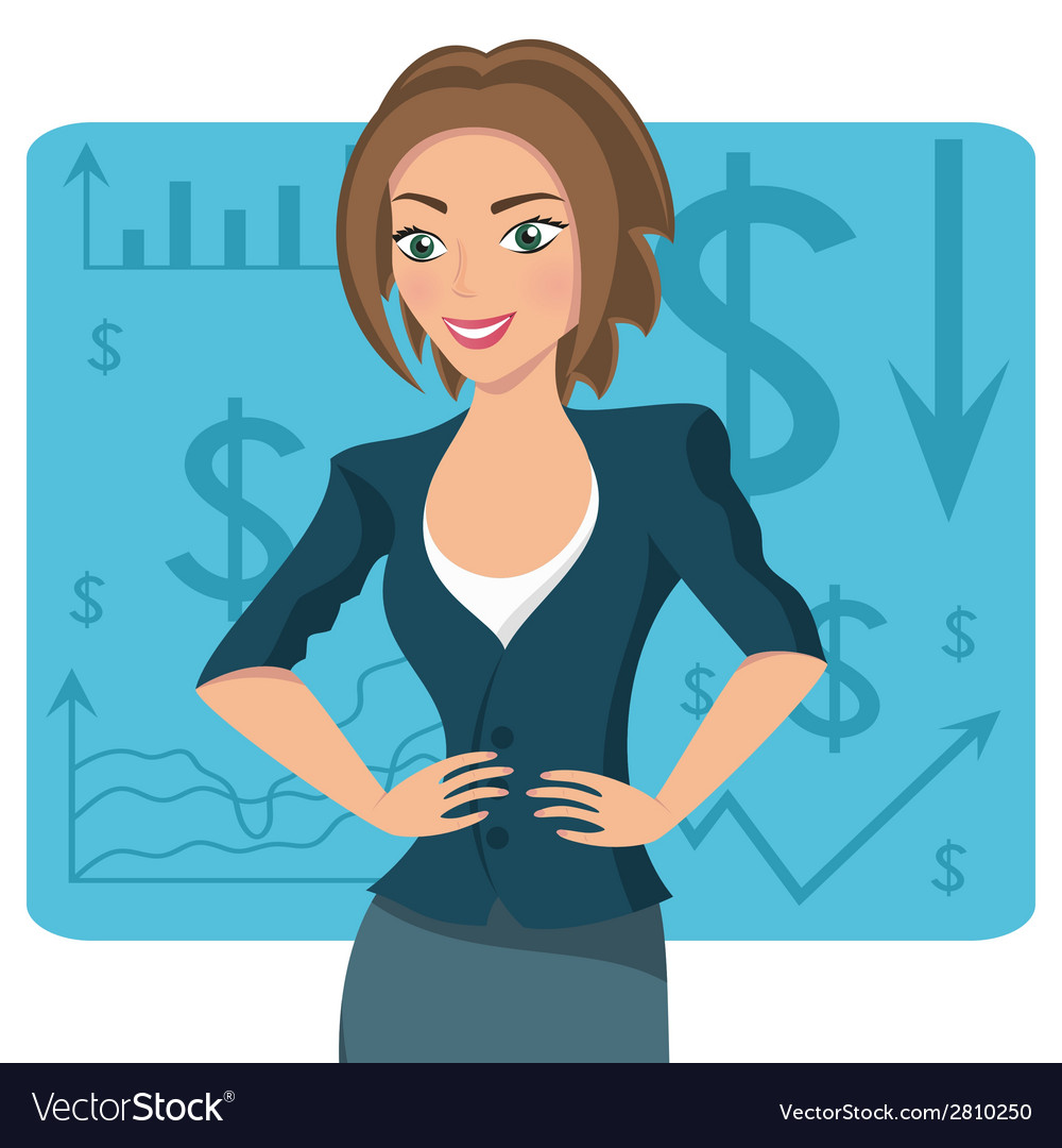 Brownhaired business woman vector
