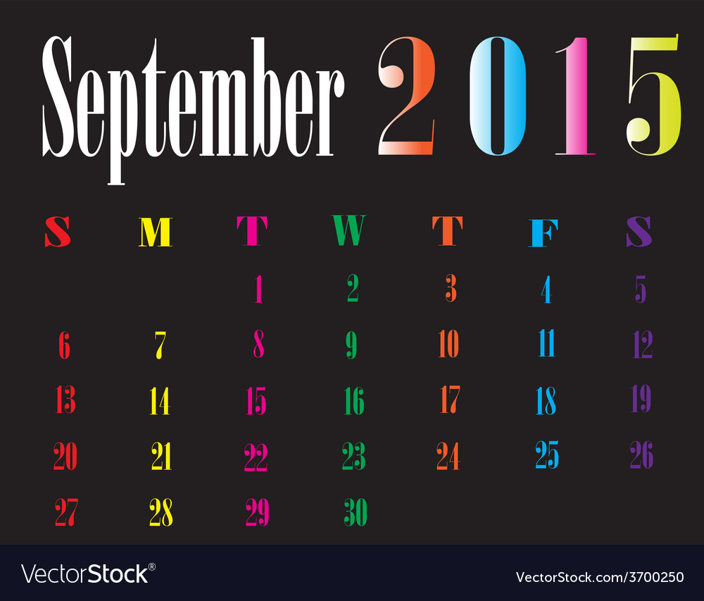 Calendar september 2015 vector | Price: 1 Credit (USD $1)