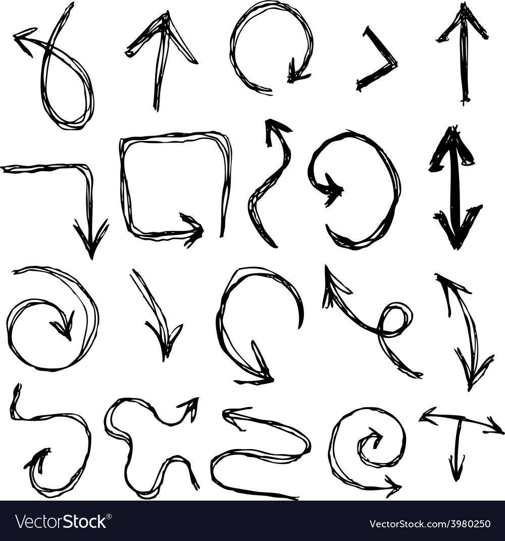 Decorative hand dravn sketch doodle black arrows vector | Price: 1 Credit (USD $1)