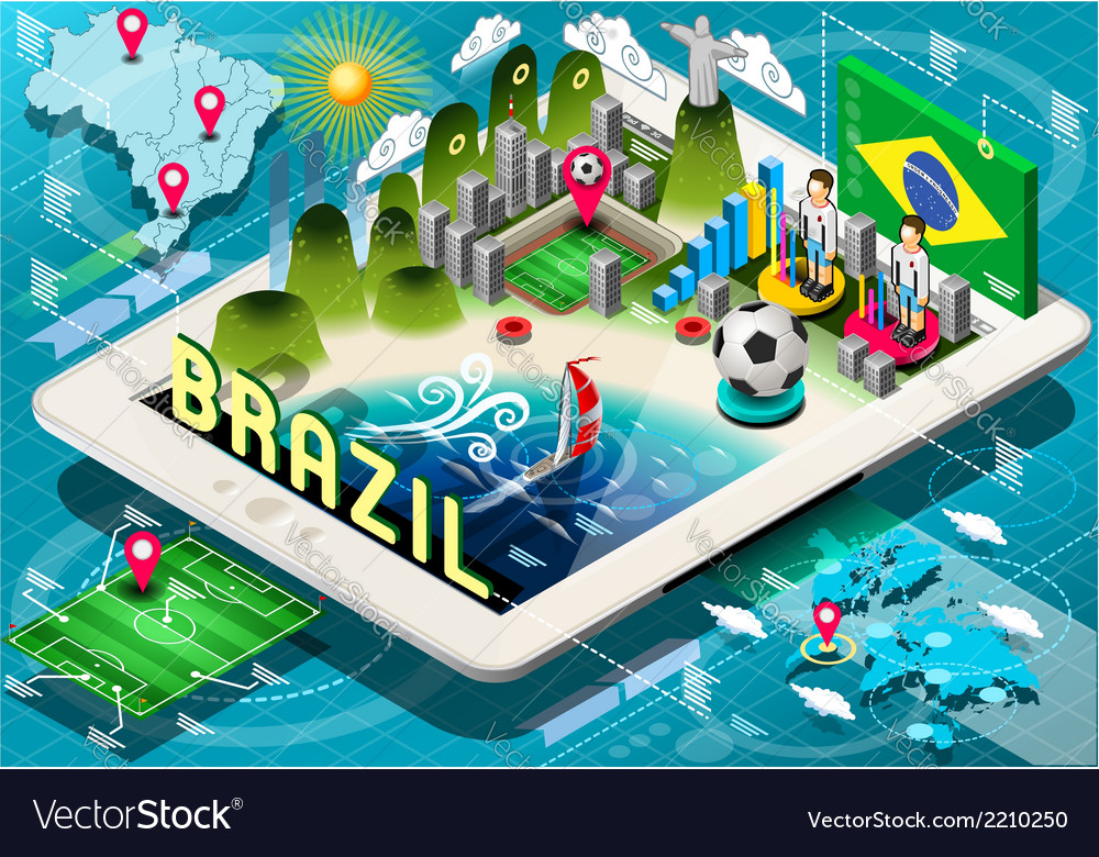Infographic of brazil on tablet vector | Price: 1 Credit (USD $1)