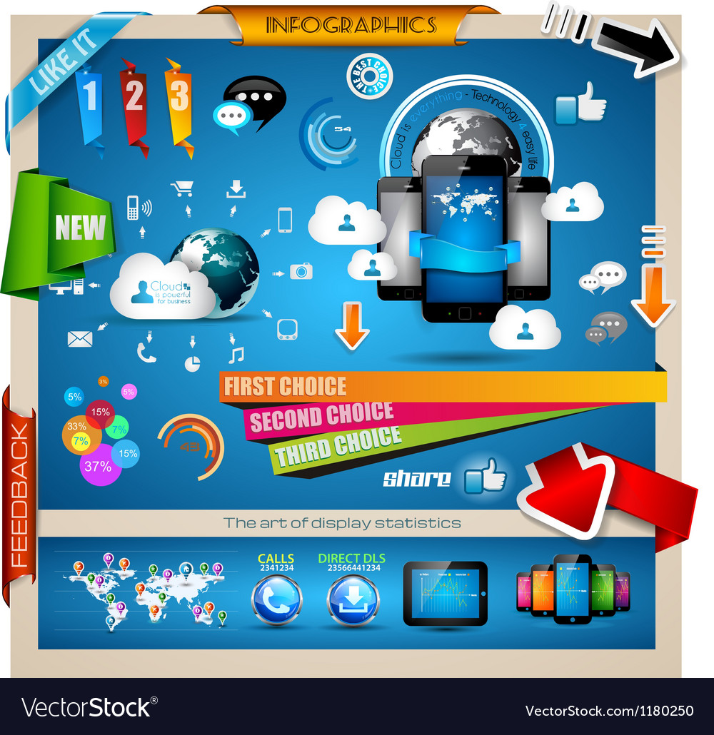 Infographic with cloud computing concept vector | Price: 3 Credit (USD $3)