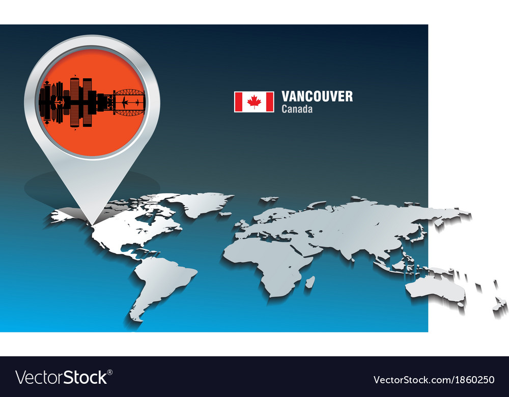 Map pin with vancouver skyline vector   Price: 1 Credit (USD $1)