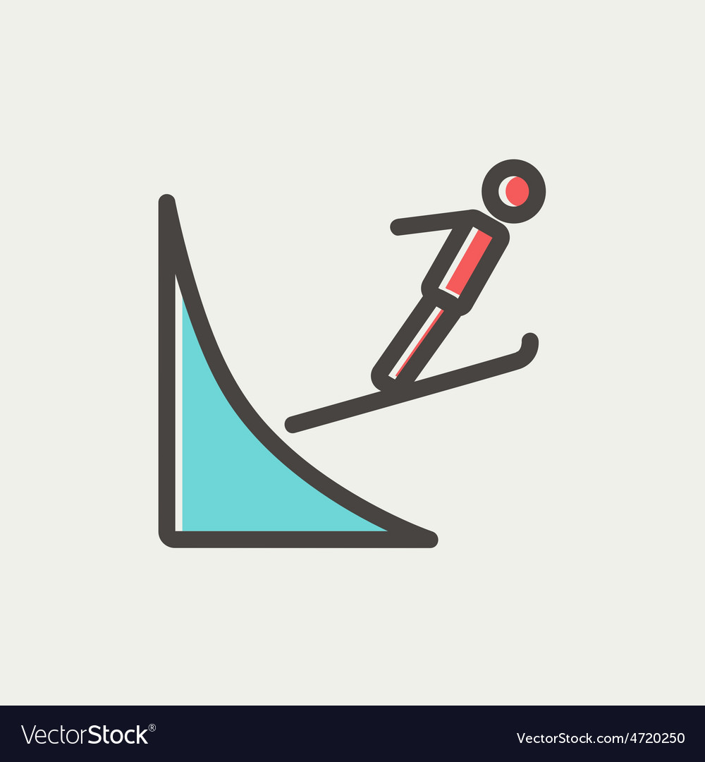 Skier jump in the air thn line icon vector | Price: 1 Credit (USD $1)