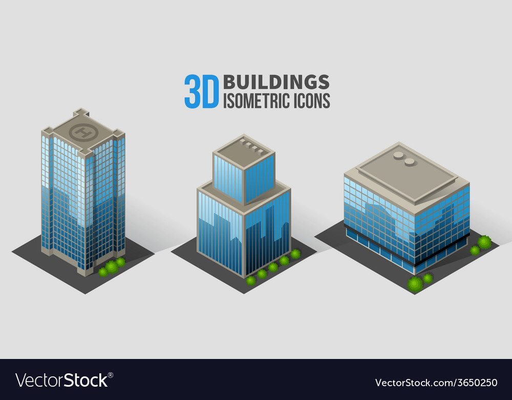 Skyscrapers with trees isometric buildings of vector | Price: 1 Credit (USD $1)
