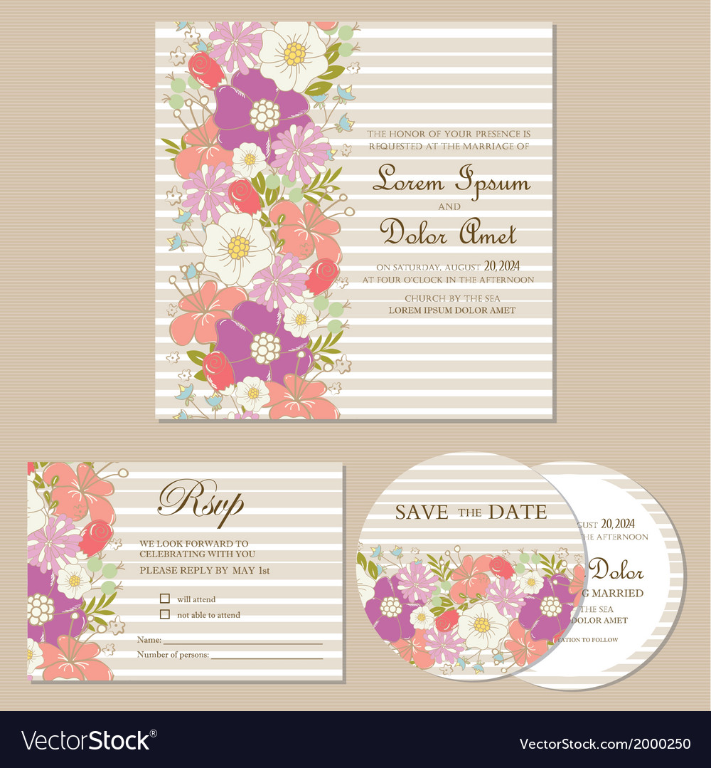 Wedding invitation cards set vector | Price: 1 Credit (USD $1)
