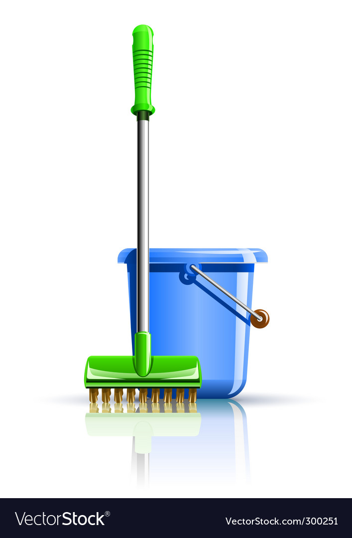 Bucket and mop for cleaning vector | Price: 1 Credit (USD $1)
