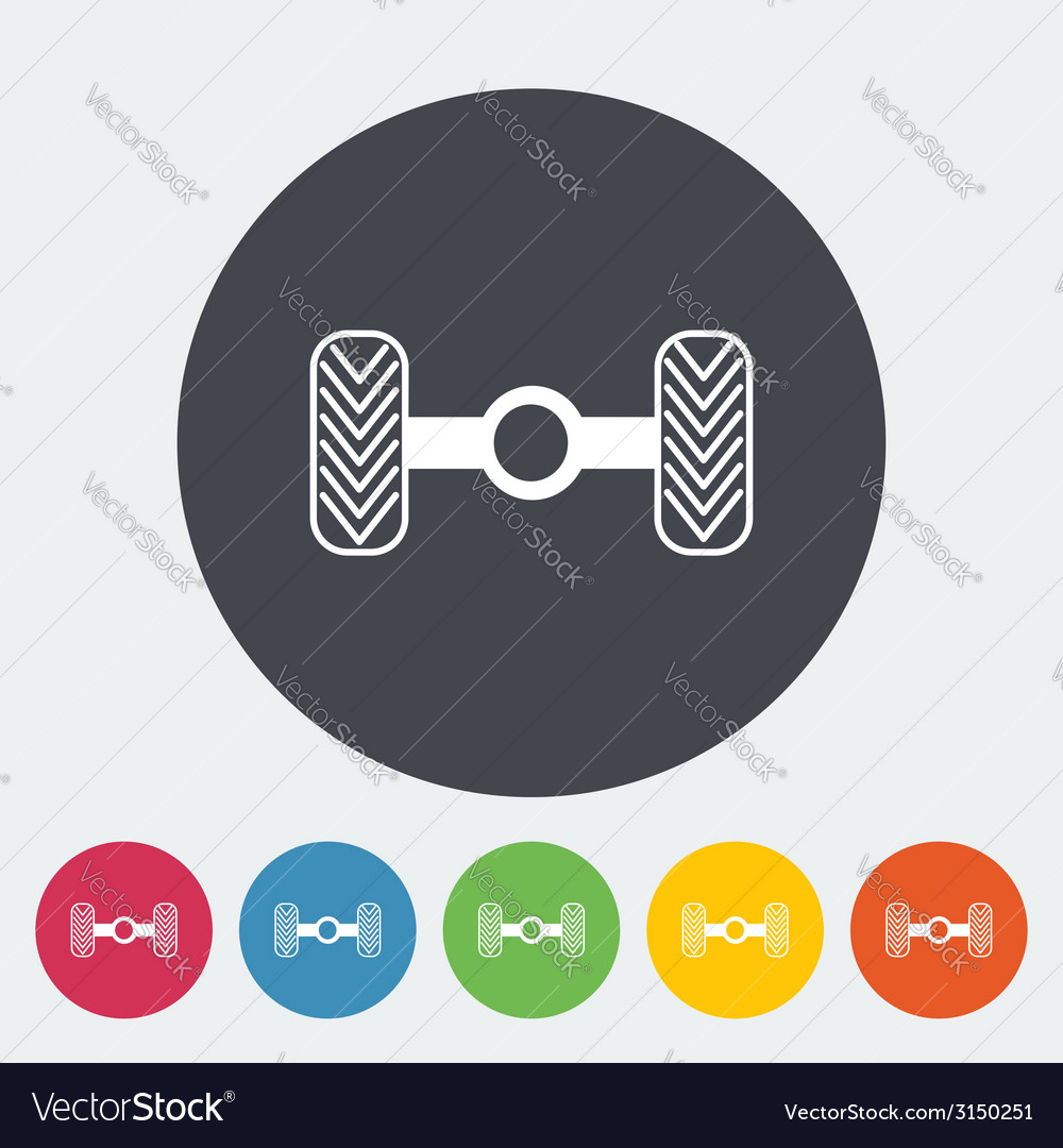 Chassis car single flat icon vector | Price: 1 Credit (USD $1)