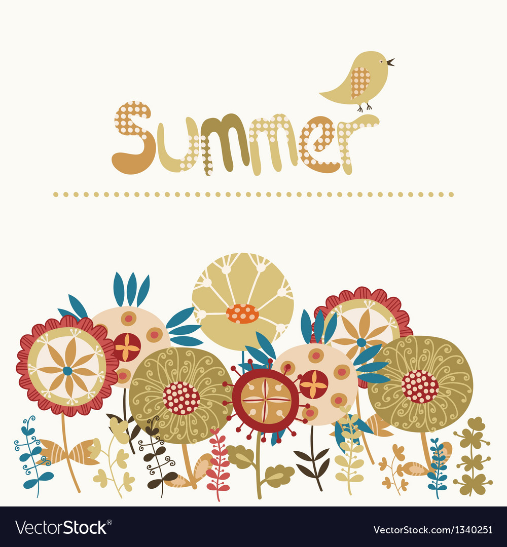 Decorative card with a summer vector | Price: 1 Credit (USD $1)