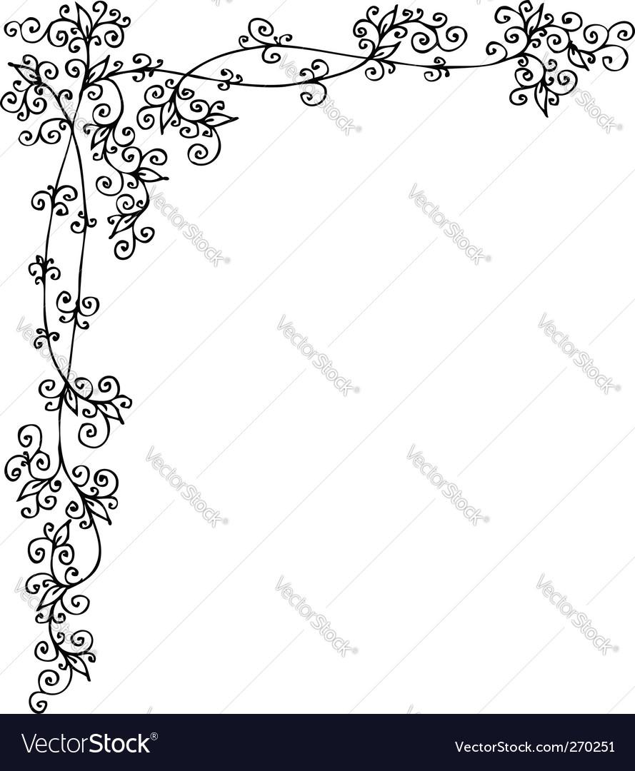 Floral vignette vector | Price: 1 Credit (USD $1)