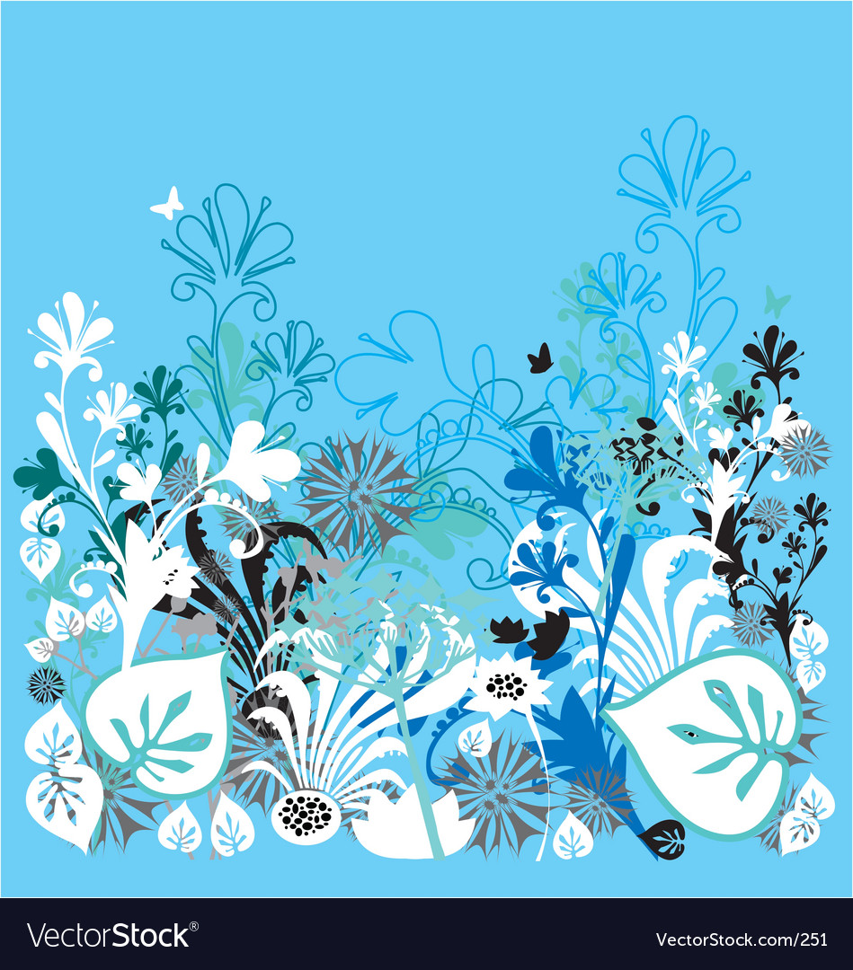 Garden of earthly delights blue vector | Price: 1 Credit (USD $1)