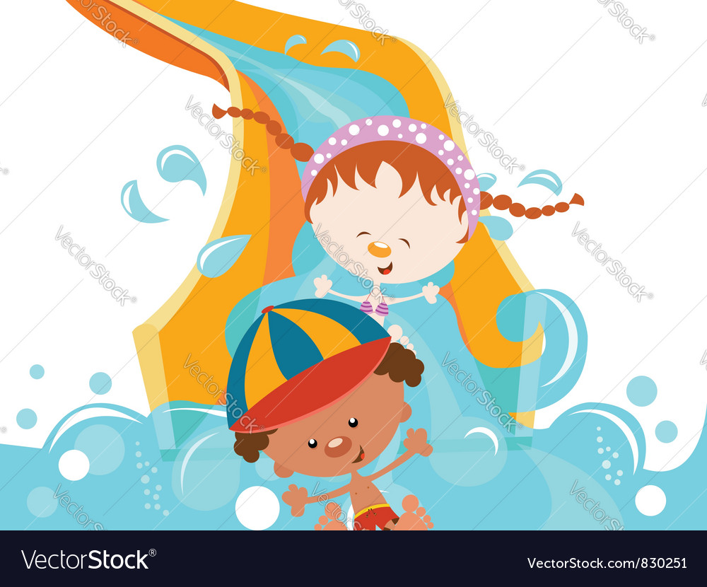 Kids on water slide vector | Price: 3 Credit (USD $3)