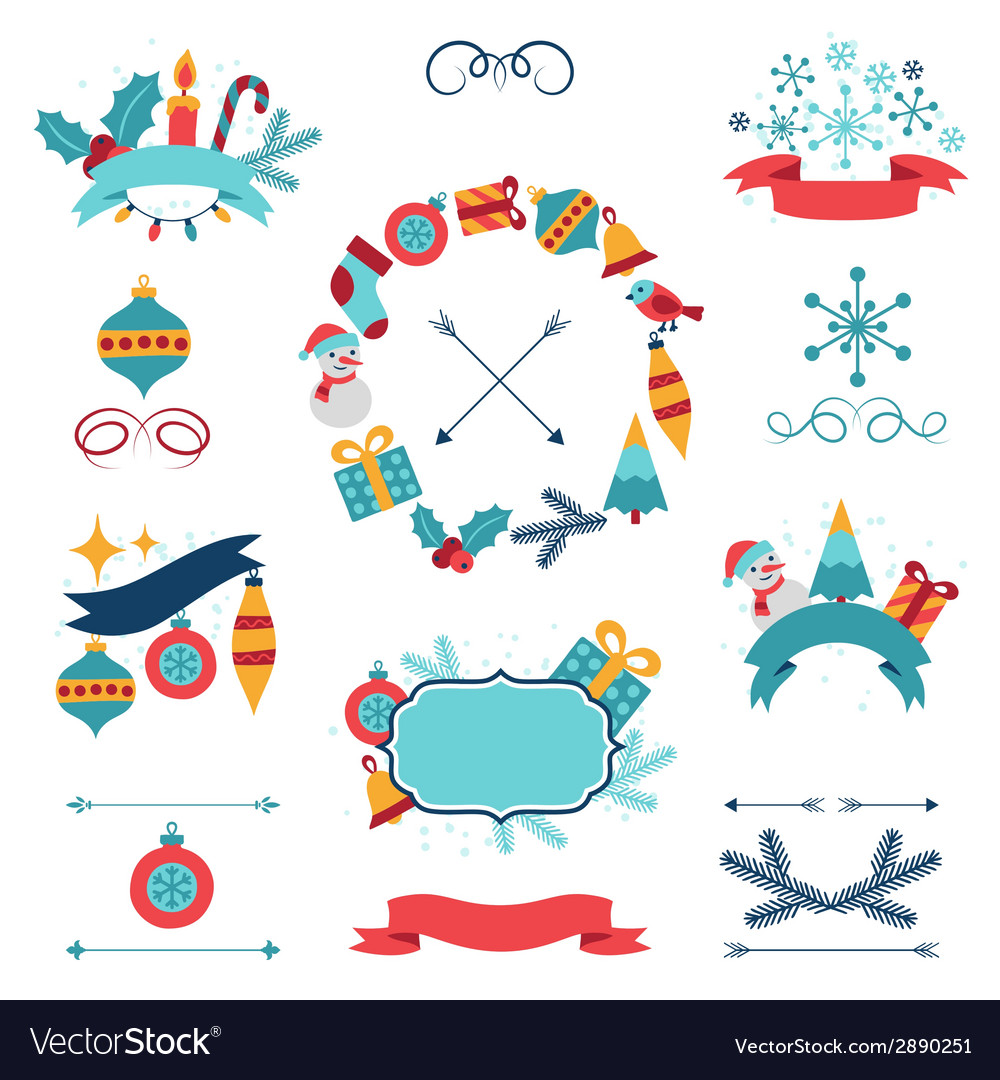 Merry christmas and happy new year banners vector | Price: 1 Credit (USD $1)