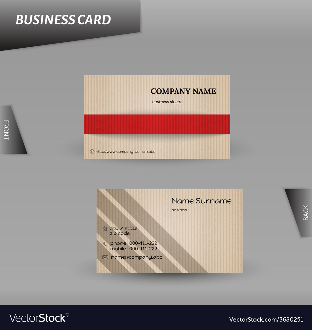Modern design cardboard business card template vector | Price: 1 Credit (USD $1)