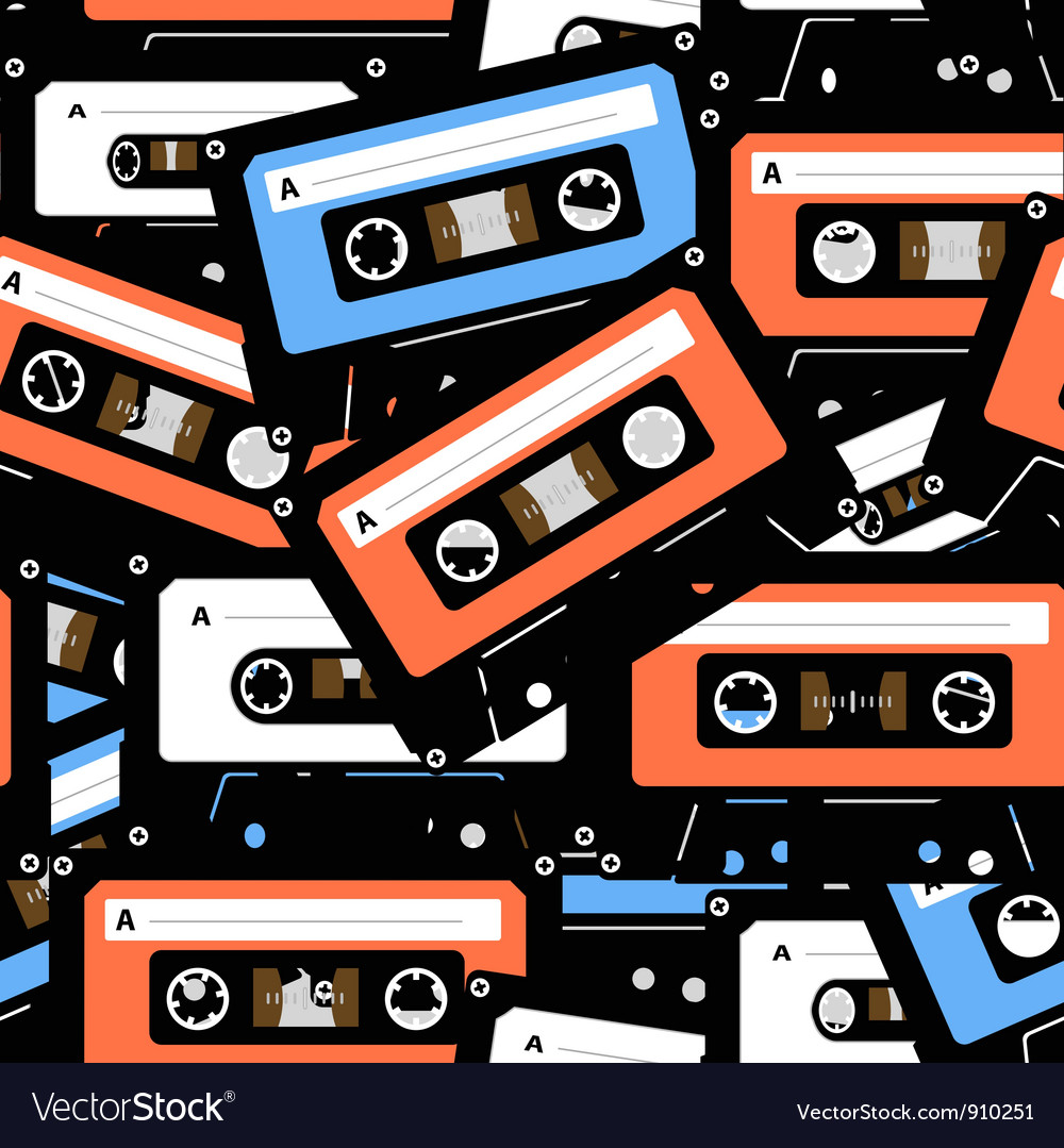 Music recordable cassettes seamless background vector | Price: 1 Credit (USD $1)