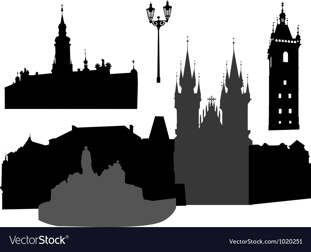Prague silhouettes vector | Price: 1 Credit (USD $1)
