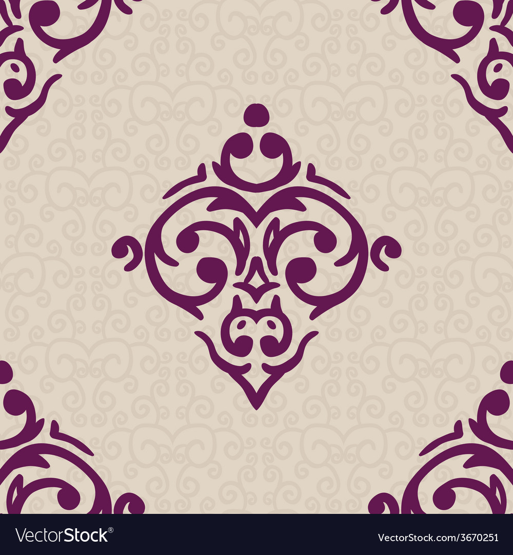 Seamless baroque damask luxury background vector   Price: 1 Credit (USD $1)