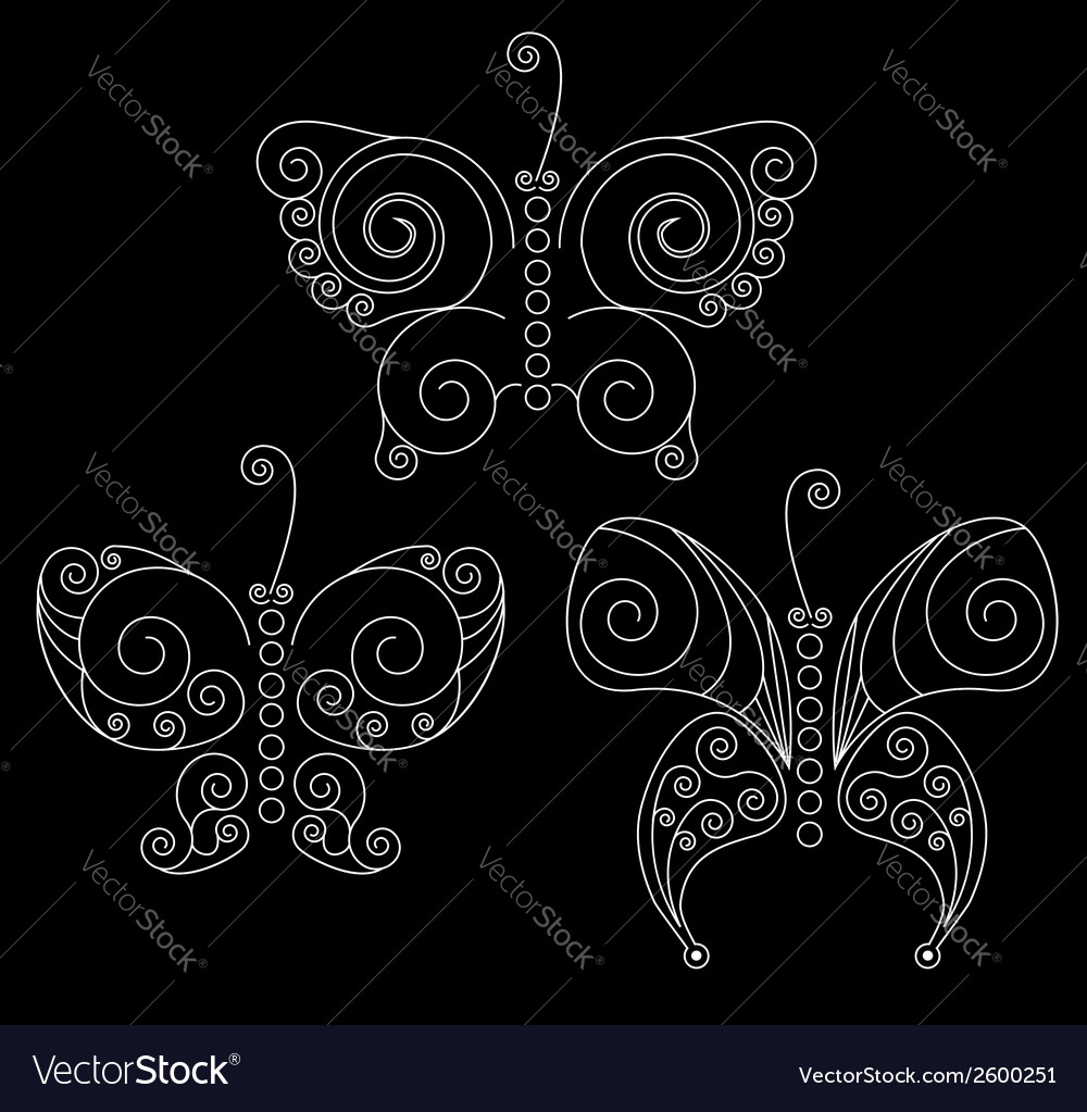 Set of three white patterned butterflies vector | Price: 1 Credit (USD $1)