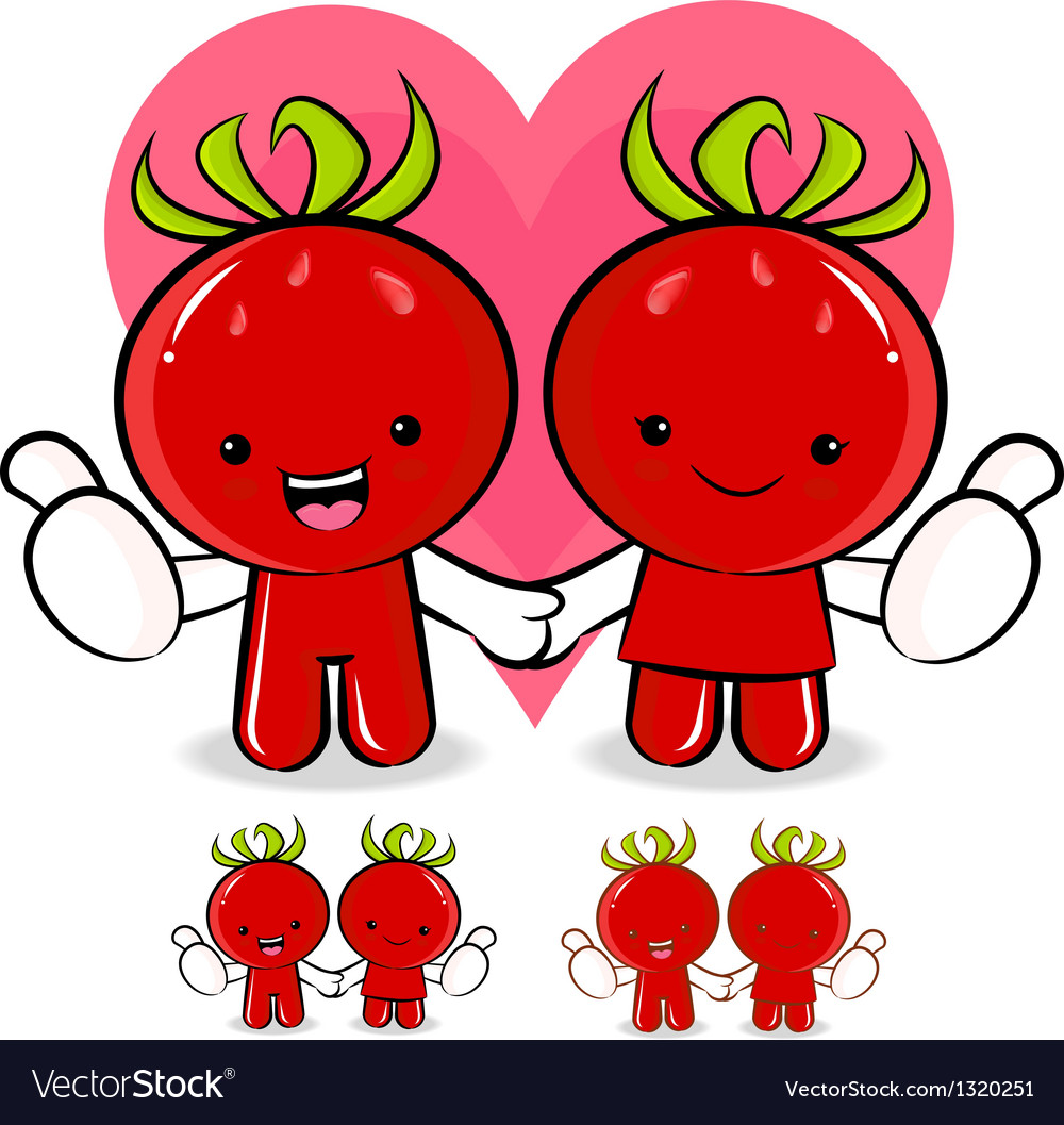 Tomato couple characters to promote vegetable sell vector | Price: 1 Credit (USD $1)