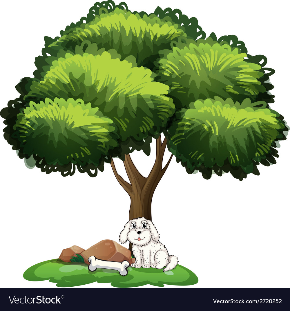 A cute dog under the tree vector | Price: 1 Credit (USD $1)