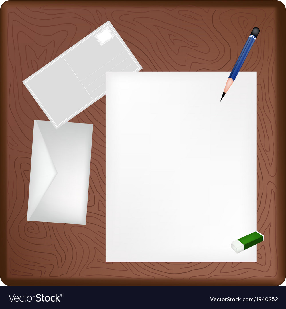 A pencil lying on a blank page and envelope vector | Price: 1 Credit (USD $1)