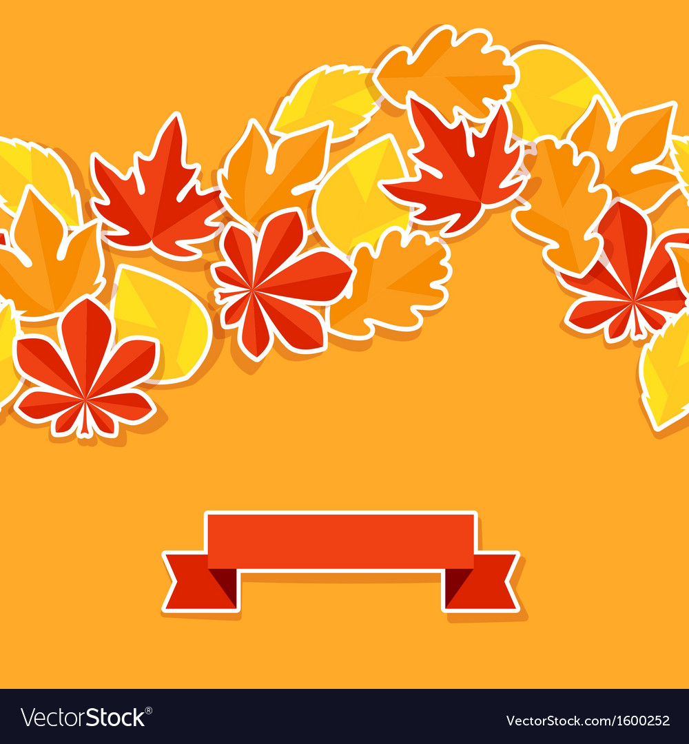 Background with stickers autumn leaves vector | Price: 1 Credit (USD $1)