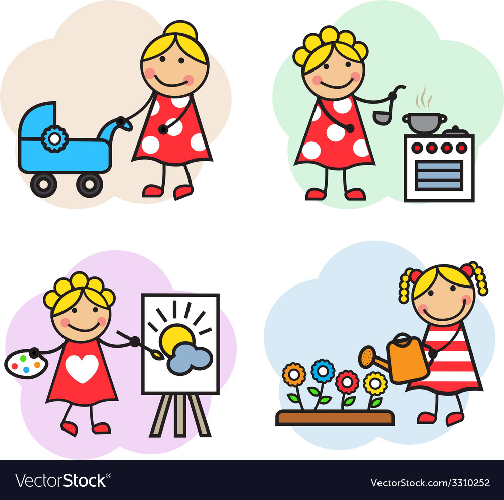 Cartoon woman hobby vector | Price: 1 Credit (USD $1)