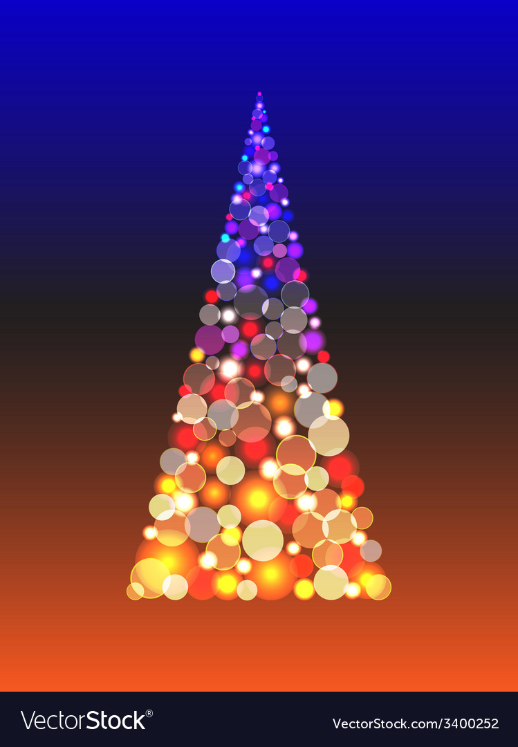 Christmas tree with shiny blur boke lights vector | Price: 1 Credit (USD $1)