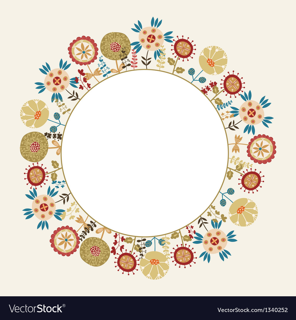 Decorative flower frame with the place for text vector | Price: 1 Credit (USD $1)