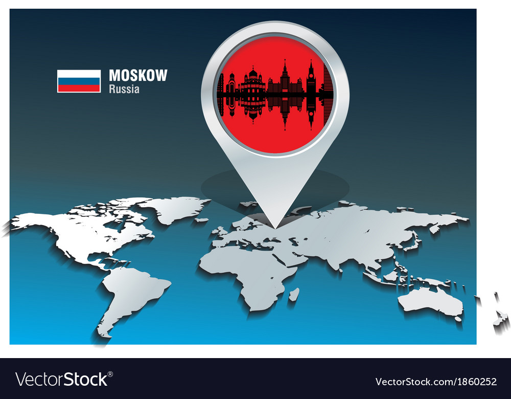 Map pin with moskow skyline vector | Price: 1 Credit (USD $1)