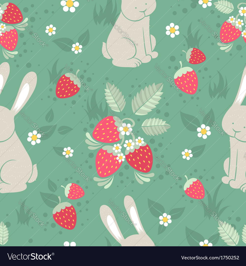 Rabbits and wild strawberries seamless pattern vector | Price: 1 Credit (USD $1)