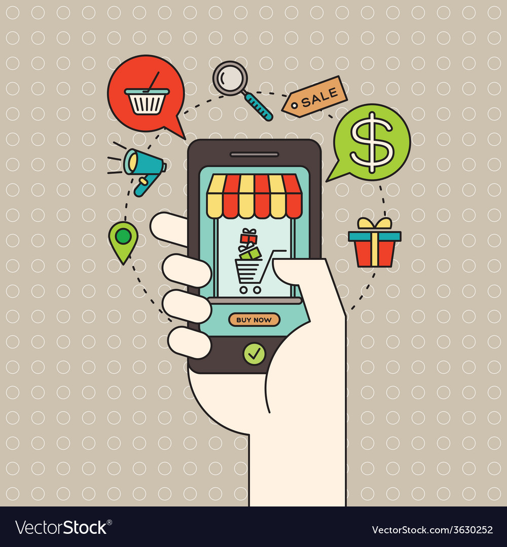 Smart phone in hand with digital marketing concept vector | Price: 1 Credit (USD $1)