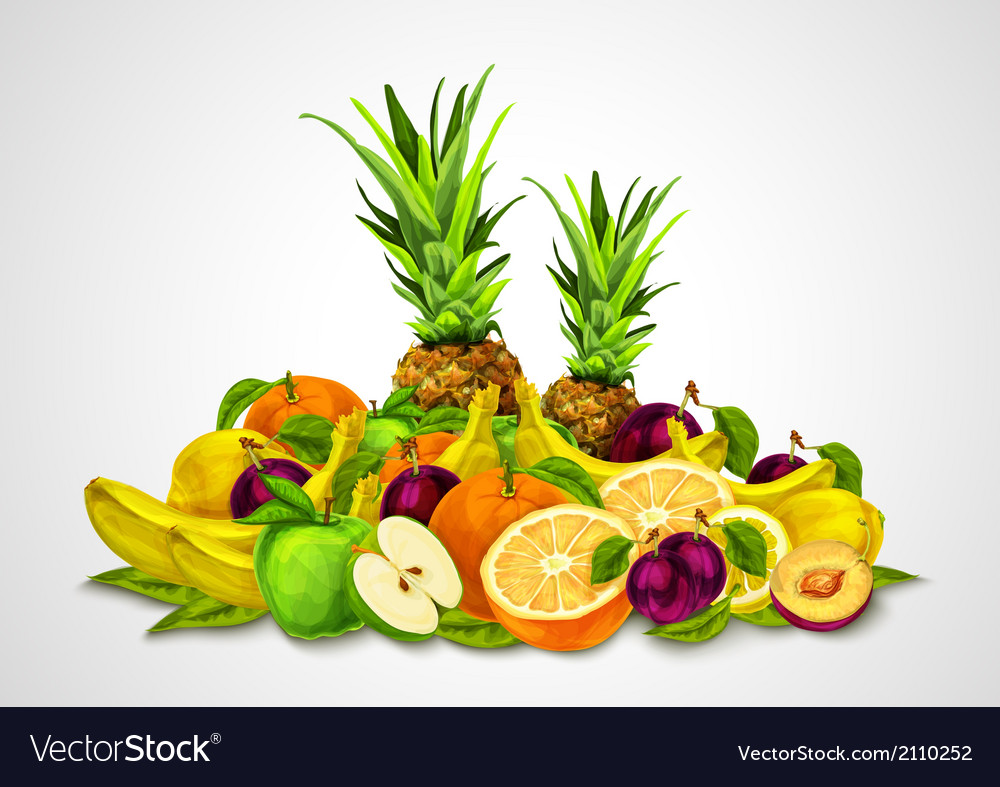 Tropical fruits set still life vector | Price: 1 Credit (USD $1)