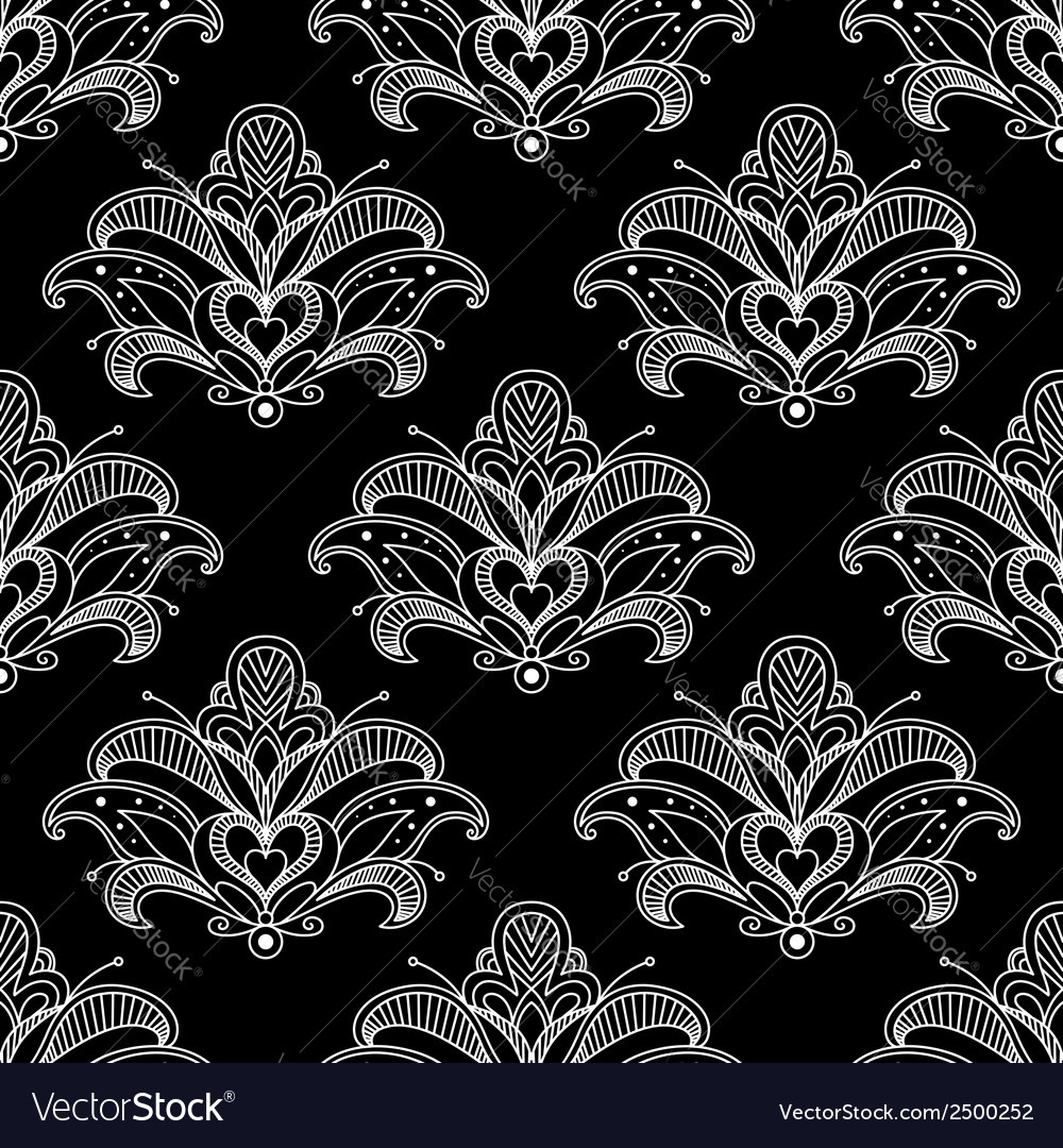 White colored floral paisley seamless pattern vector | Price: 1 Credit (USD $1)