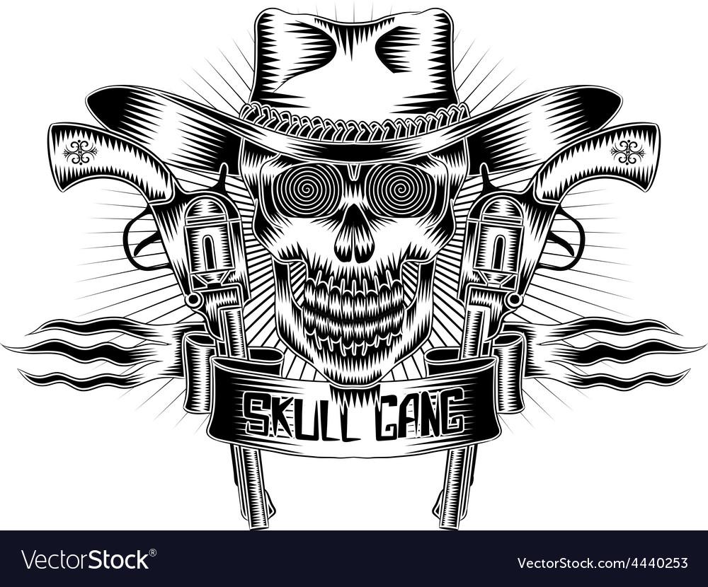 Artistic skull design emblem vector | Price: 1 Credit (USD $1)