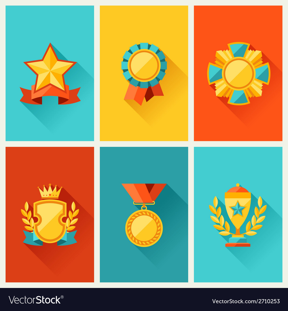 Background with trophy and awards in flat design vector | Price: 1 Credit (USD $1)